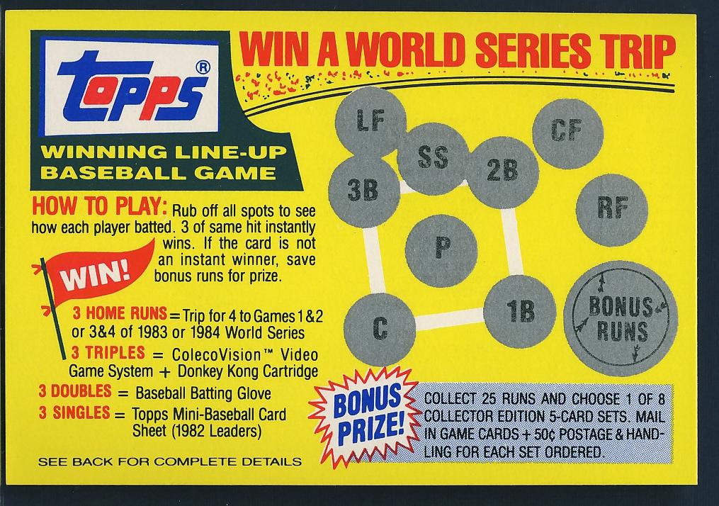 1983 Topps Leader Sheet | Lifetime Topps project