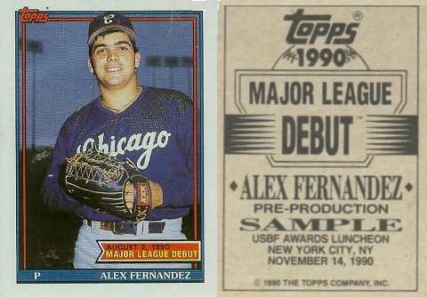1990 Topps Debut Promo Alex Fernandez