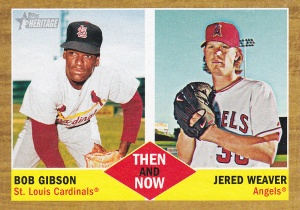 2011 Topps Heritage Then Now Bob Gibson Jered Weaver