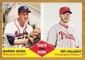 2011 Topps Heritage Then Now Spahn Halladay
