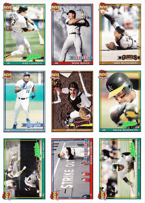 1991 Topps pre-production sheet