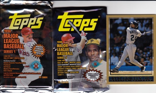 1998 Topps pack and Griffey