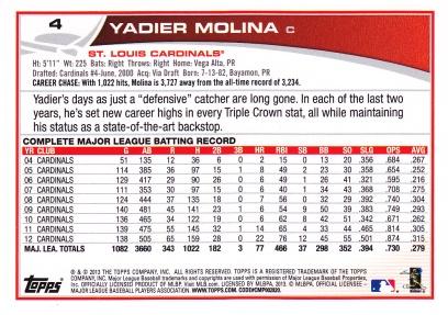 2013 Topps Molina back