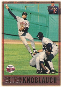 1997 Topps 65 Chuck Knoblauch best action shot