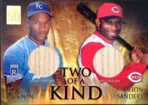 2001 Topps Two of Kind relic Bo Deion