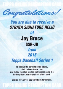 2015 Topps s1 Strata redemption Jay Bruce