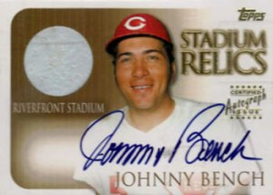 2000 Topps Stadium Relic Auto Johnny Bench