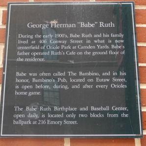 Ruth plaque Camden Yards