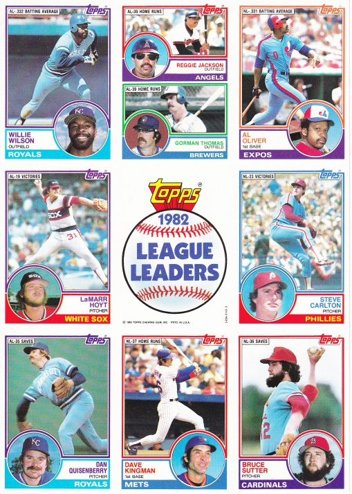 1983 Topps League Leaders sheet