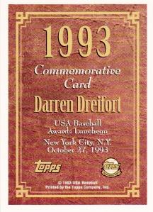 1994 Topps Golden Spikes Dreifort back