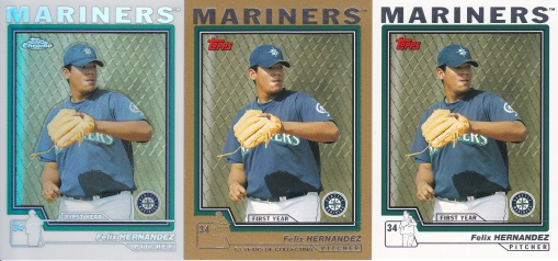 2004 Topps Update Felix Hernandez base gold & chrome