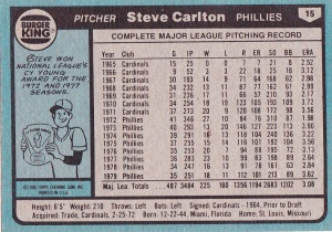 1980 Burger King Phillies Steve Carlton back