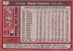 1980 Burger King PHR Steve Carlton back