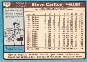1980 OPC Steve Carlton back