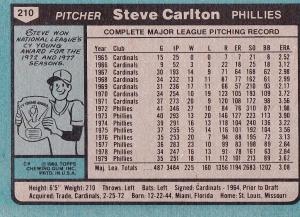 1980 Topps Steve Carlton back