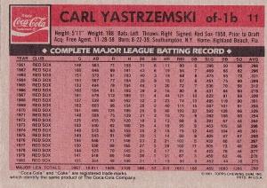1981 Topps Coke Yaz back