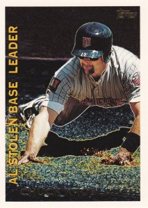 1995 Topps League Leaders Knoblauch final card