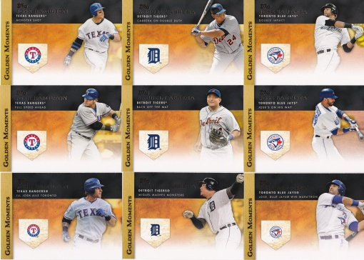 2012 Topps Golden Moments 3 cards Cabrera Bautista Hamilton
