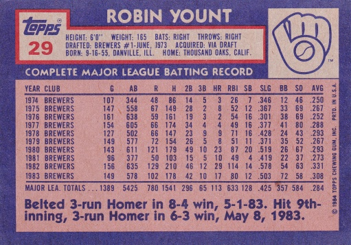 1984 Topps Super Yount back