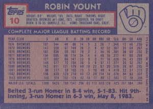 1984 Topps Yount back