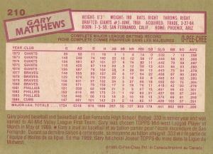 1985 OPC Gary Matthews back