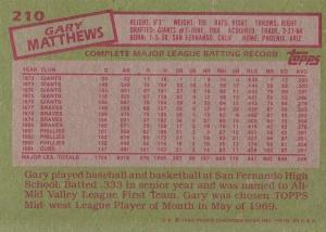 1985 Topps Gary Matthews back
