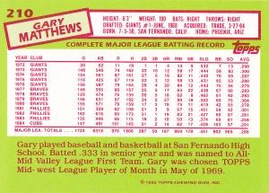 1985 Topps Tiffany Gary Matthews back