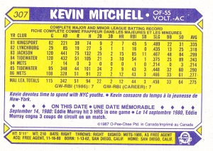 1987 OPC Kevin Mitchell back