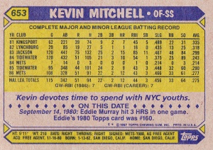 1987 Topps Kevin Mitchell back