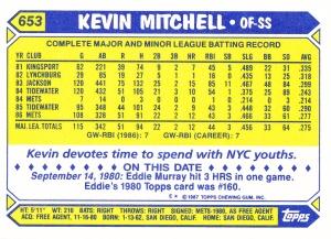 1987 Topps Tiffany Kevin Mitchell back