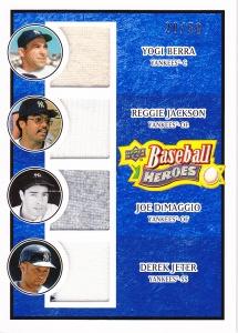 2008 UD Heroes memorabilia Berra Reggie DiMaggio Jeter