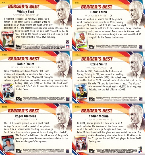 2016 Topps Bergers Best