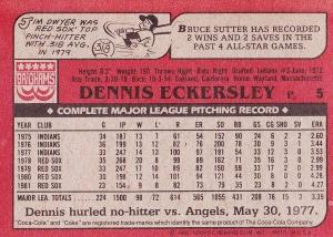 1982 Topps Coke Eck back