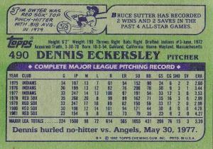 1982 Topps Eck back