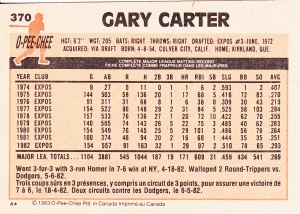 1983 OPC Gary Carter back