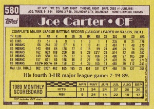 1990 Topps Joe Carter back