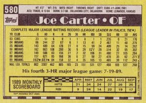 1990 Topps Joe Carter back