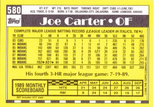 1990 Topps Tiffany Joe Carter back