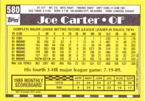 1990 Topps Tiffany Joe Carter back