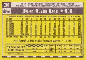 1990 Topps Traded Joe Carter back
