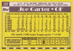 1990 Topps Traded Joe Carter back
