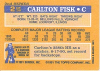 1991 Topps Cracker Jack Fisk back