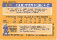 1991 Topps Cracker Jack Fisk back