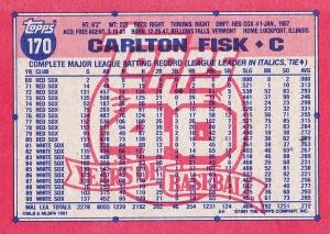 1991 Topps Fisk back