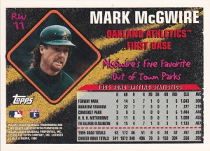 1996 Topps Road Warriors McGwire back