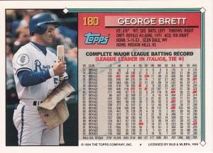 1994 Topps George Brett back