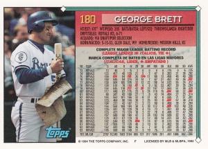 1994 Topps Spanish George Brett back