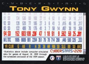 1995 Topps Cyberstats Gwynn back