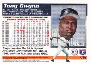 1995 Topps Gwynn back