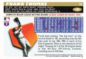 1996 Topps Frank Thomas back